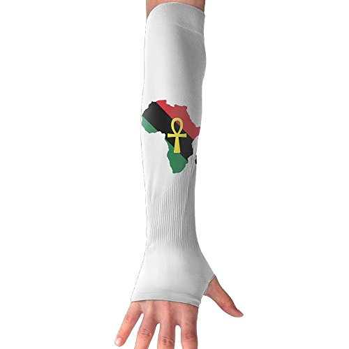 Unisex Red Black Green Africa MAP And ANKH Anti-UV Sleeves Gloves Sun Protection Sports Protective Armor Sleeves by SOURCE POINT