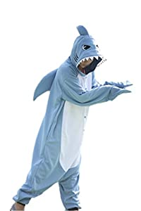 WOTOGOLD Animal Cosplay Costume Unisex Adult Blue Shark Pajamas