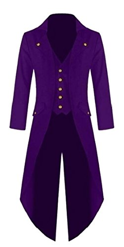 XQS Mens Casual Gothic Tailcoat Jacket Steampunk High Collar Coat Purple S -