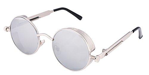 FEISEDY Retro Gothic SteamPunk Sunglasses Round Metal Frame Flat or Mirrored Lens Men Women - Or Round Flat