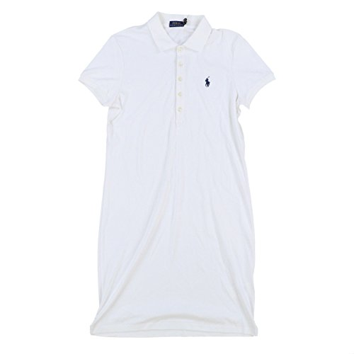RALPH LAUREN Polo Womens Interlock Polo Dress (Large, White Navy Pony)