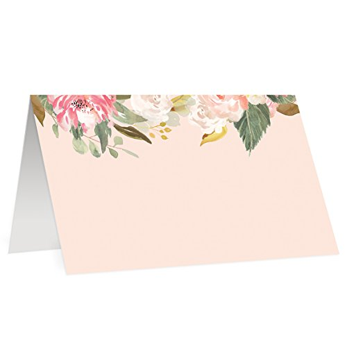 (Blush Pink Place Cards (50 Pack) Big Set Watercolor Floral Wedding Escort Cards Elegant Table Tent Folded Blank Fill In Assigned Seating 3.5 x 2