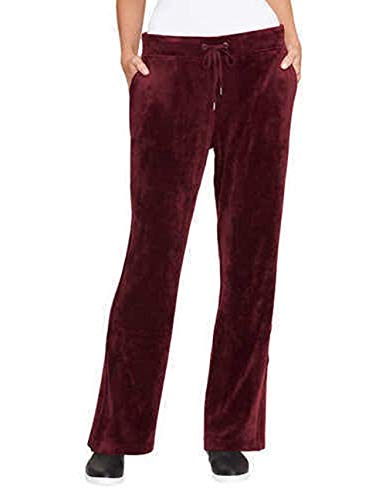 (Gloria Vanderbilt Women's Ellie Velour Drawstring Sweatpants M Merlot)