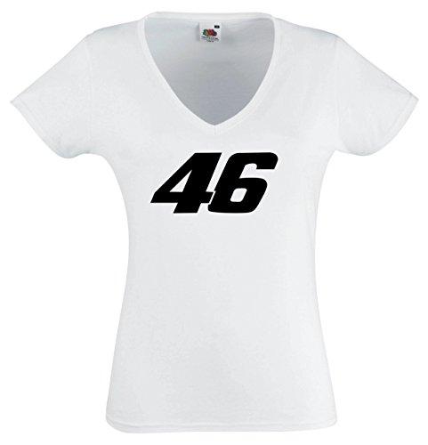 Black Dragon - T - Shirt woman V - Tee white - 46 - Drive / Bike / Racing - XL - JDM / Die cut ()
