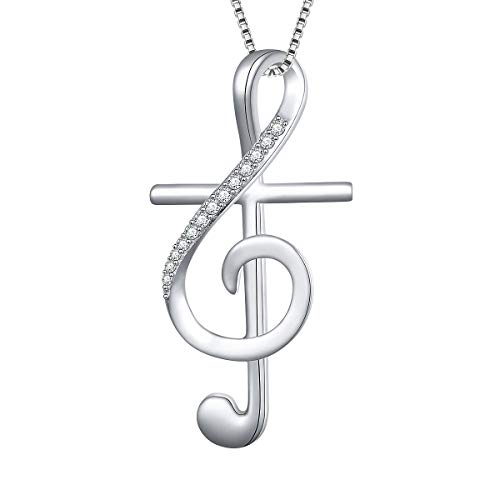 S925 Sterling Silver Cross Musical Note Pendant Necklace, Box Chain 18 inches ()