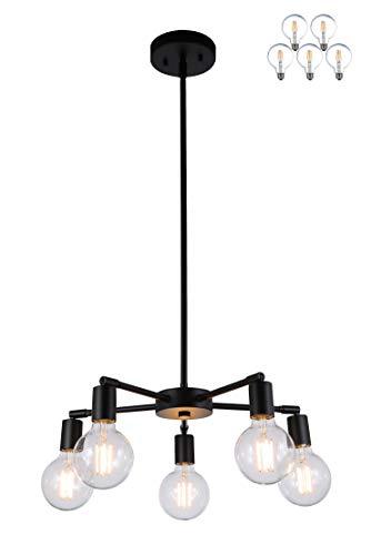 XiNBEi Lighting 5 Light Chandeliers, Pendant Lighting with LED Bulbs, Matte Black Finish XB-C1211-5-MBK