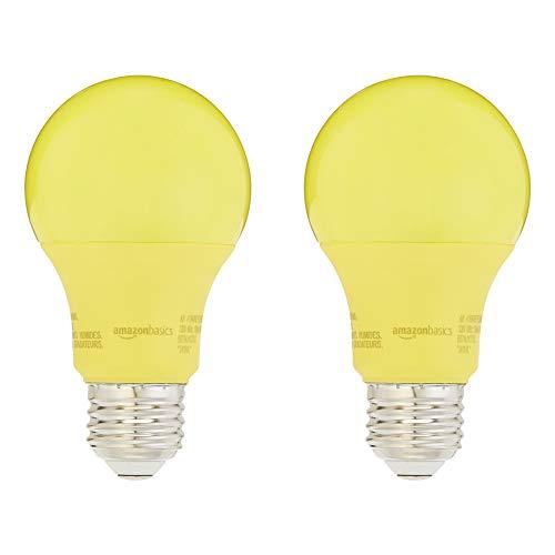 AmazonBasics 60 Watt Equivalent, Non-Dimmable, A19 LED Light Bulb | Yellow, 2-Pack