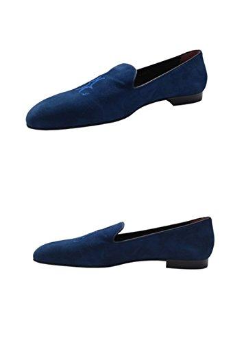 Mocassins Milliardaire Couture Mens Daim Bleu Avec Logo Bb (eu 41 / Us 8)