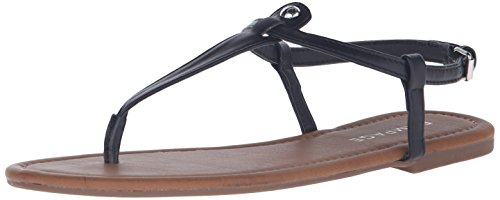 Rampage Women's Pashmina Casual Comfortable T-Bar Flat Sandals, Black Smooth, 11 M US