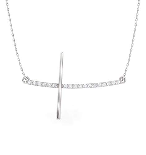- Diamondere Natural and Certified Diamond Cross Necklace in 14k White Gold | 0.15 Carat Pendant with Chain