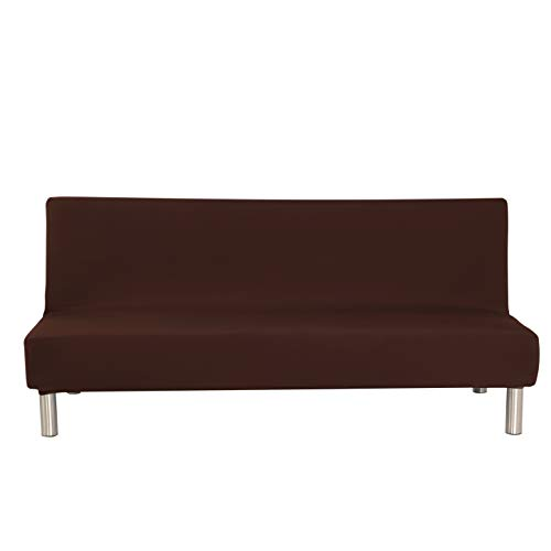(ZOCAVIA Sofa Bed Cover Futon Slipcover Solid Color Couch Protector, Polyester Spandex Stretch Armless Mattress Cover, Coffee, 51