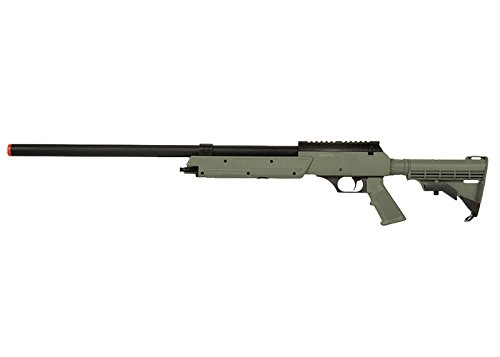 Well APS MB06 SR-2 Spring Bolt Action Airsoft Sniper Rifle (OD) - Single-Shot Airsoft Gun with Picatinny Weaver - Metal Sniper Rifle