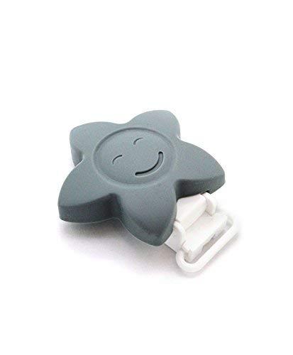 clip estrella cara feliz RUBY pinza de chupete para ni/ños beb/és. Amarillo 1 Pinza de silicona
