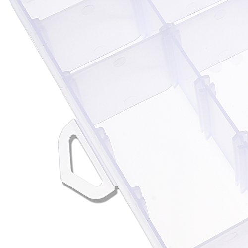 D-buy 36 Grids Clear Plastic Jewelry Box Organizer Storage Container with Adjustable Dividers 10.8 x 6.9 x 1.7
