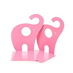 Eforstore 1pair Cute Pink Elephant Nonskid Bookends Large Heavy Duty Art Bookend Metal Decorative Shelf Books Textbooks Bookend