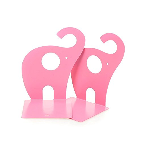 Eforstore 1pair Cute Pink Elephant Nonskid Bookends Large Heavy Duty Art Bookend Metal Decorative Shelf Books Textbooks Bookend by Eforstore