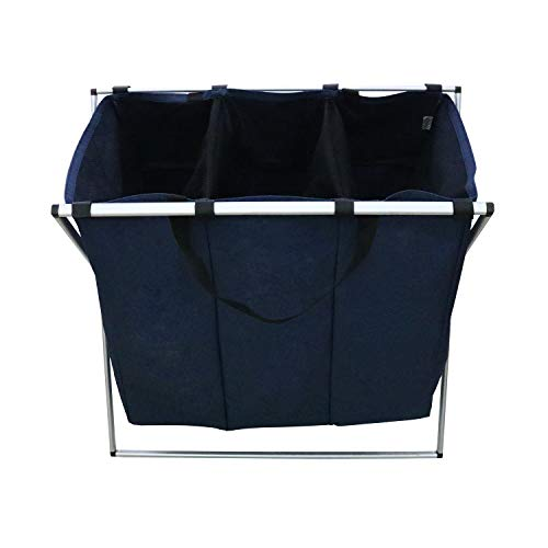 (Berry Ave Tri-Part Laundry Basket Hamper (Dark, Light, Color) - Tall Tri-Part Bin Dirty Clothes Organizer for Kids, Adults - Home and College Use - Smart Rolling Design - Blue)