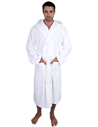 TowelSelections Men's Robe, Turkish Cotton Hooded Terry Bathrobe Small/Medium White by TowelSelections