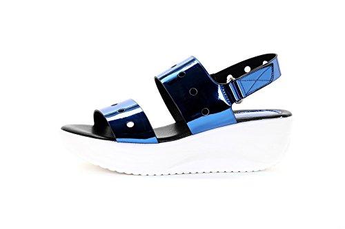 AgooLar Mujeres Microfibra Plataforma Puntera Abierta Sólido Velcro Sandalia Azul