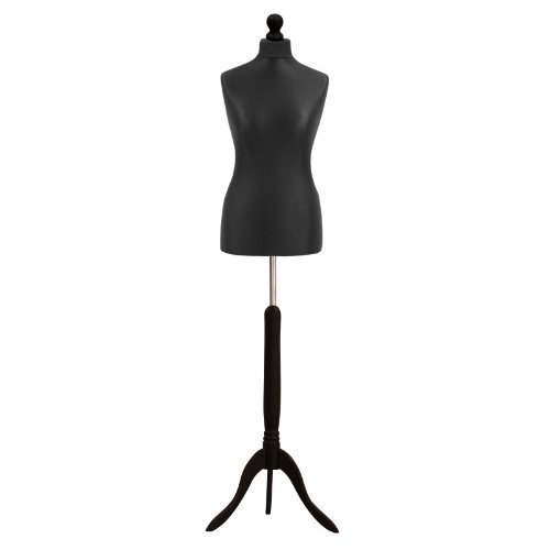 Female Tailors Dummy Mannequin Black Size 10 12 Dressmakers Fashion Students Display Bust With A Dark Wood Base by .925 Silver