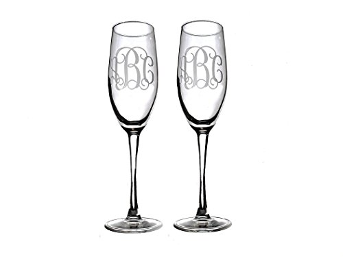 Personalized Toasting Flutes -Set of 2-, Monogram champagne glasses ()