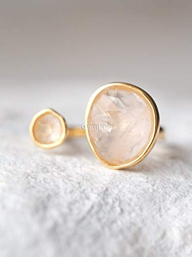 (Double Stone Simulated Rose Quartz Open Circle Light Pink Ring )