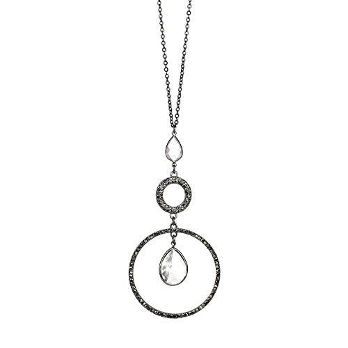 POMINACrystalPave Teardrop Circle Pendant Long Necklace,Sweater Chain Necklacefor Women (Hematite)