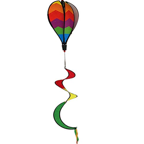 Rainbow Stake - JULUJ Hot Air Balloon Wind Spinner Yard Garden Decor Decorative Stakes Outdoor Rainbow Sequins Color Windsock Striped Wind Spinners