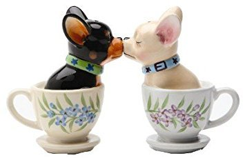 1 X Tea Cup Pups Magnetic Salt & Pepper Shaker Set S/P