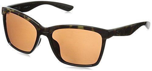 Costa del Mar Women's Anna Polarized Iridium Square Sunglasses, Shiny Black on Brown, 55.4 mm