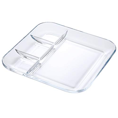FOYO Tempered Glass Divided Transparent Salad Plates/Platter,10'' Lunch/Dinner Dish for Dividing Sauces/Jam/Side Dish and Food - Healthy Lifestyle Dinnerware