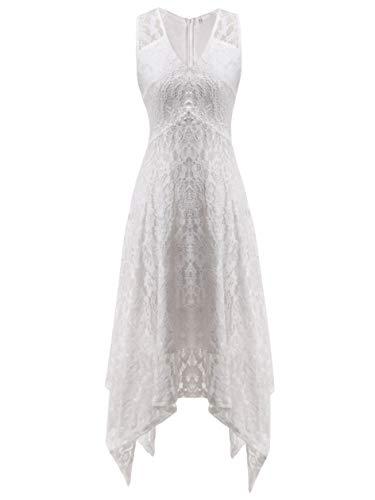 - FAIRY COUPLE Women's V-Neck Floral Lace Asymmetrical Handkerchief Hem Cocktail Party Dresses DL022C(XL,C White)