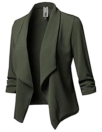 Amazon.com: GH Womens Skinny Suit Jacket Long Sleeve Casual ...