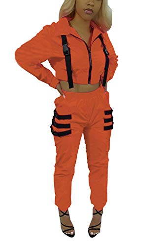 Bluewolfsea Women Jogging Suits 2 Piece Crop Top Jacket and Pants Set Color Block Tracksuit Casual Sportswear X-Large Orange