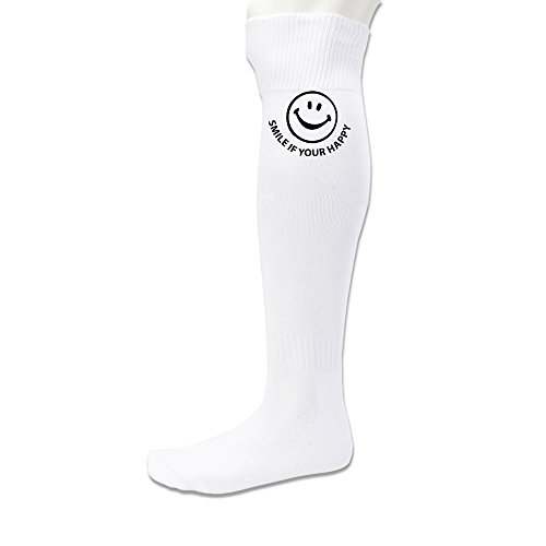 Nintendo Kirby Halloween Costume (DonSir Smile If You Are Happy Unisex Football Sports Tube Knee High Socks White)