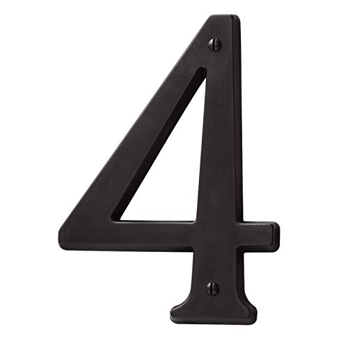(Baldwin Estate 90674.102.CD Solid Brass Traditional House Number Four in Oil Rubbed Bronze, 4.75