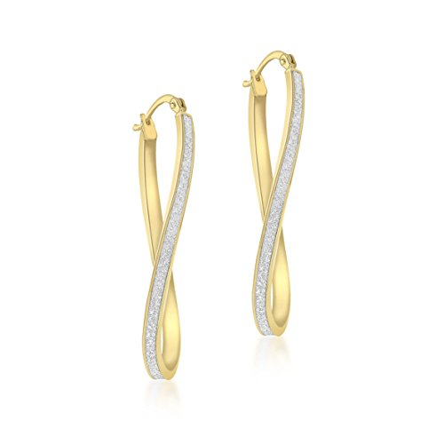 Carissima Gold 9ct Or jaune Stardust Figure of Eight Earrings