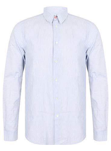 Paul Smith Long Sleeve Linen Mix Tailored Shirt in Indigo Medium