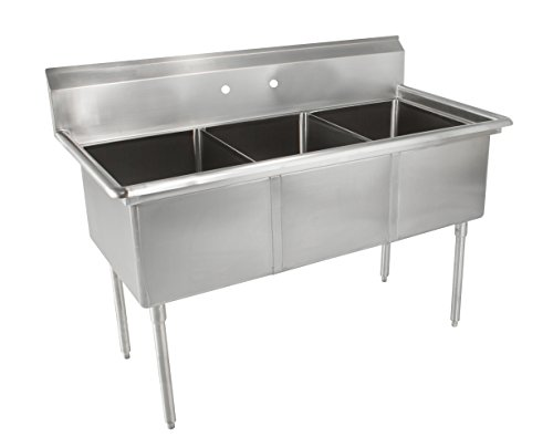 John Boos E Series Stainless Steel Sink, Multi-Bowl, 3 Compartment, 35'' Length x 19-1/2'' Width by John Boos