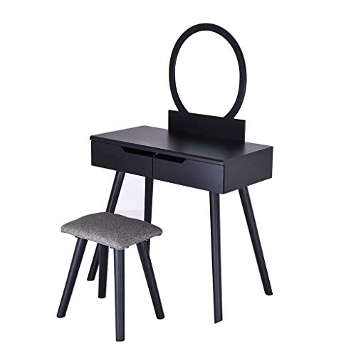 FIged Vanity Table Set with Round Mirror 2 Large Drawers with Sliding Rails Makeup Dressing Table with Cushioned Stool, Black ()
