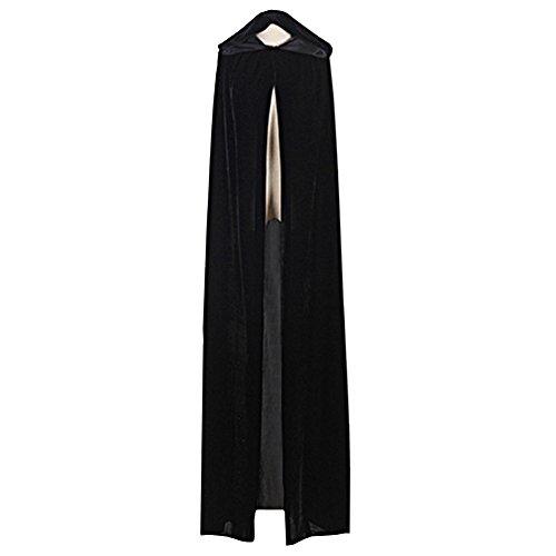 LSERVER Women Long Hooded Cape Velvet Costume Cloak for Cosplay Party Holloween Black (Cloak Adult Renaissance)