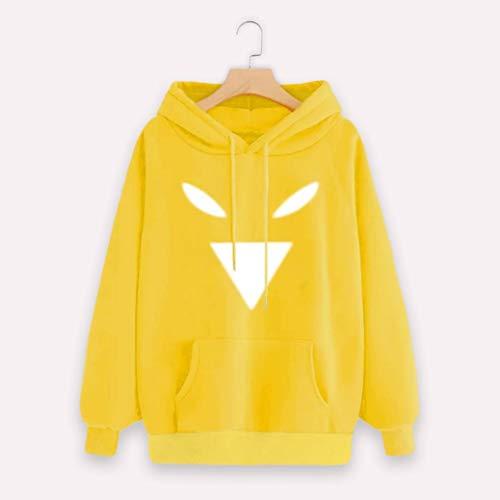 Ne Chemise Chemisier A Shirt Poche Manches Capuche Yellow Kangrunmy Chic Longues Sweat DBardeur Imprim Automne Blouse Femme Femmes Imprimer Motic Sweat vqwZxITndz
