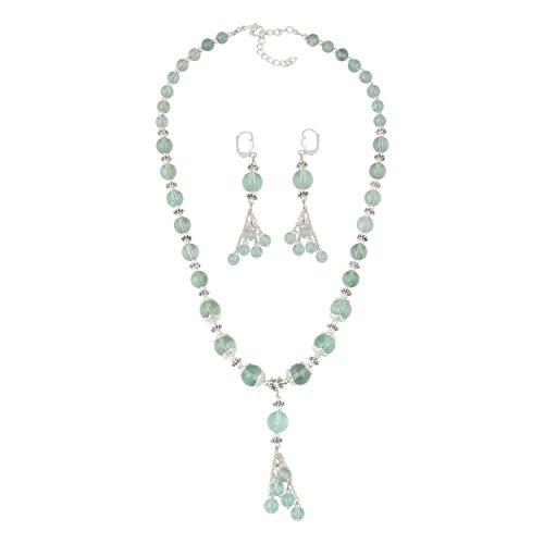 Necklace Fluorite Green - Pearlz Ocean Seducing Green Fluorite Beaded Necklace and Earrings Trendy Jewelry Set for Women