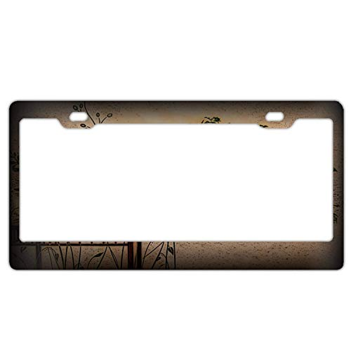 (YEX Abstract Bonsai tree3 License Plate Frame Car License Plate Covers Auto Tag Holder 6