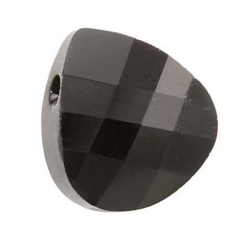 SWAROVSKI ELEMENTS Flat Crystal Briolette Beads #6012 11x10mm Jet (2) (Flat Briolette Pendant Bead)