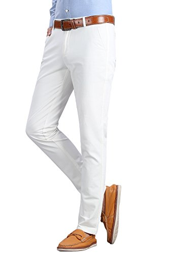 INFLATION Men's Stretchy Slim Fit Casual Pants,100% Cotton Flat Front Trousers Dress Pants for Men,White Pants Size 33 by INFLATION (Image #3)