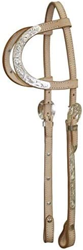 WESTERN HORSE SHOW LIGHT OIL TWO EAR SILVER BRIDLE HEADSTALL WITH 7/' SPLIT REINS