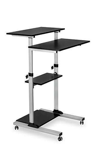 Mount-It! Mobile Stand Up Desk/Height Adjustable Computer Work Station Rolling Presentation Cart -