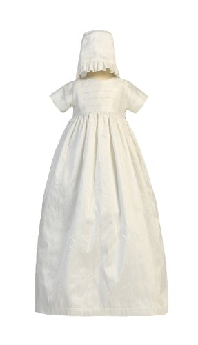 Silk Heirloom Gown with Two Hats (Boy and Girl) Christening Baptism Special Occasion Family Outfit with Two Matching Hats - L (12-18 Month, 18-22 (Heirloom Baptism Gowns)