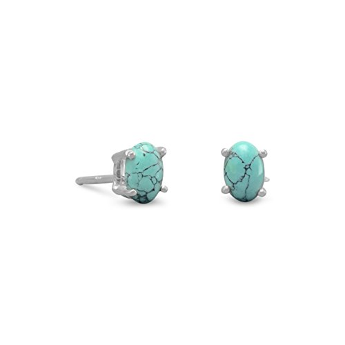 .925 Sterling Silver Post Stud Earrings, 4x6mm Oval Turquoise, 1/4 inch